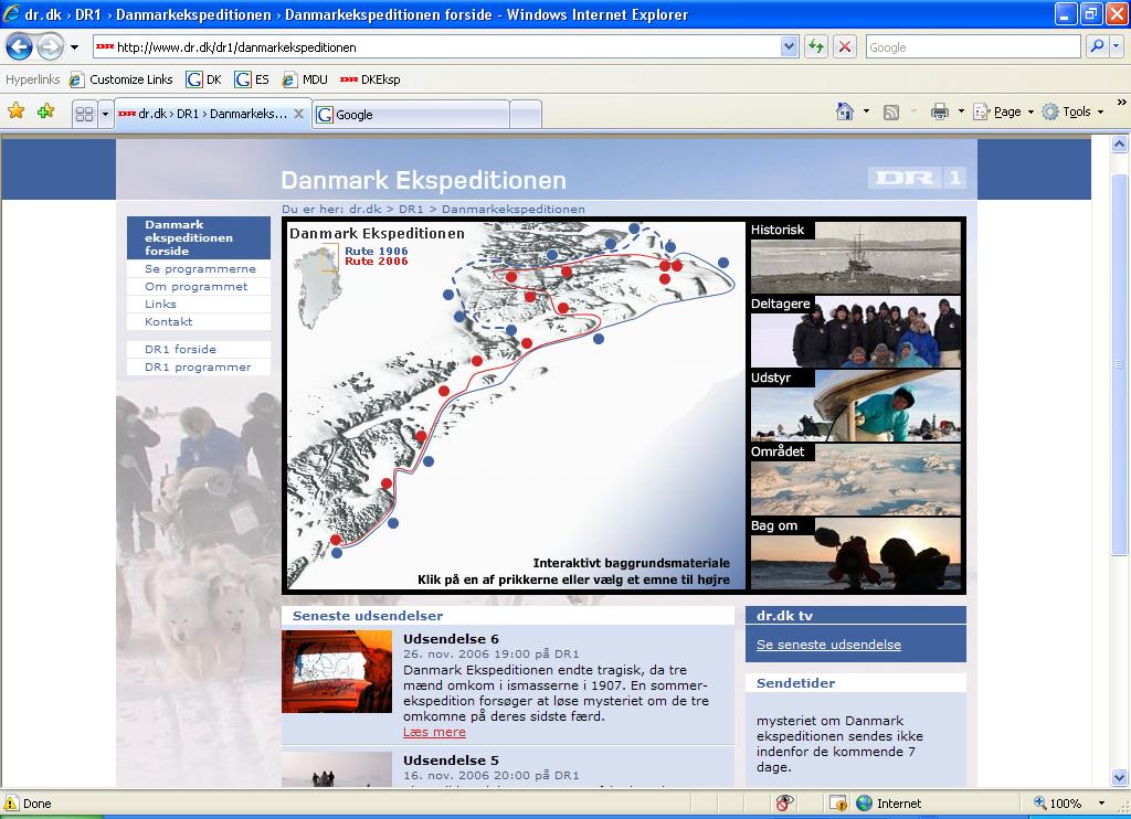 Web til DRs Danmark Ekspeditionen